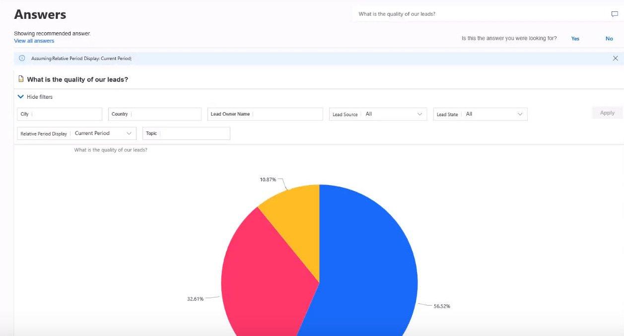Sales Insights: Antwort auf Frage Chart