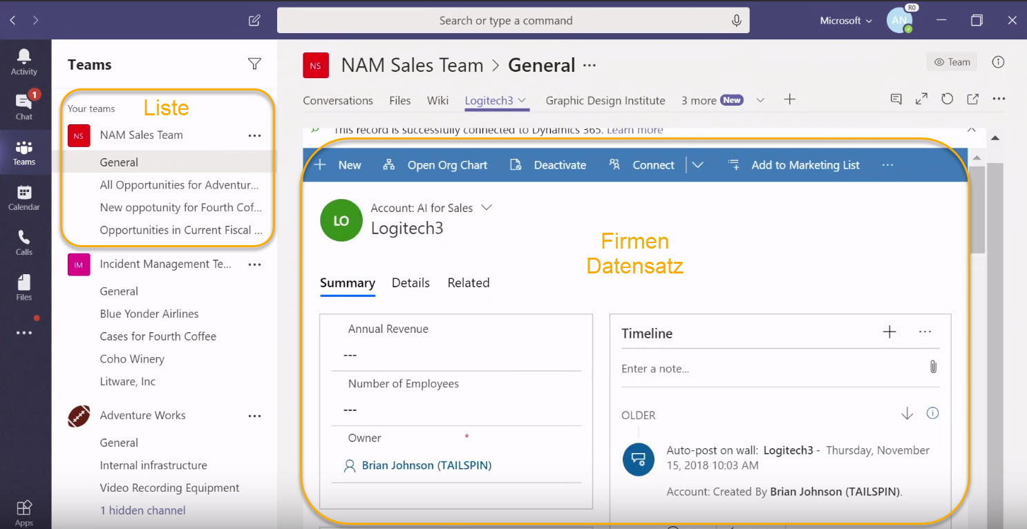 Dynamics 365 in Microsoft Teams
