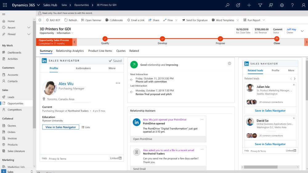 Benutzeroberfläche Sales Integration