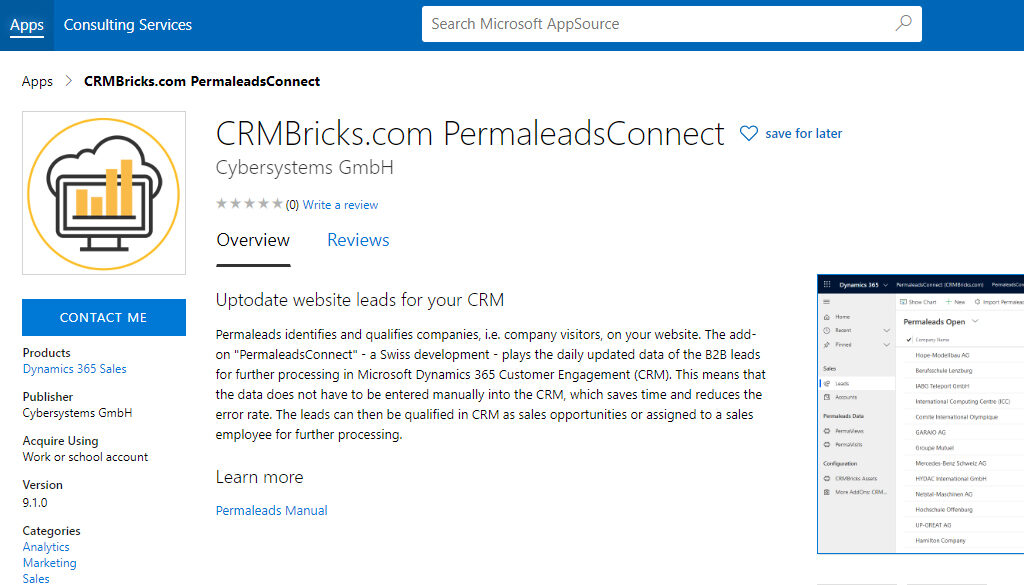 PermaleadsConnect in Microsoft AppSource